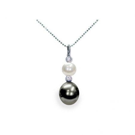 Pendente con catena in Argento 925‰ con Perle piena perlagione - CS165, lunghezza 45 cm, collezione Revival di Mayumi.