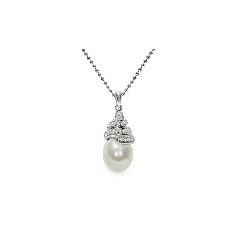 Pendente con catena Argento 925°/°°con Perla piena perlagione - CS259, collezione Emozioni di Mayumi.