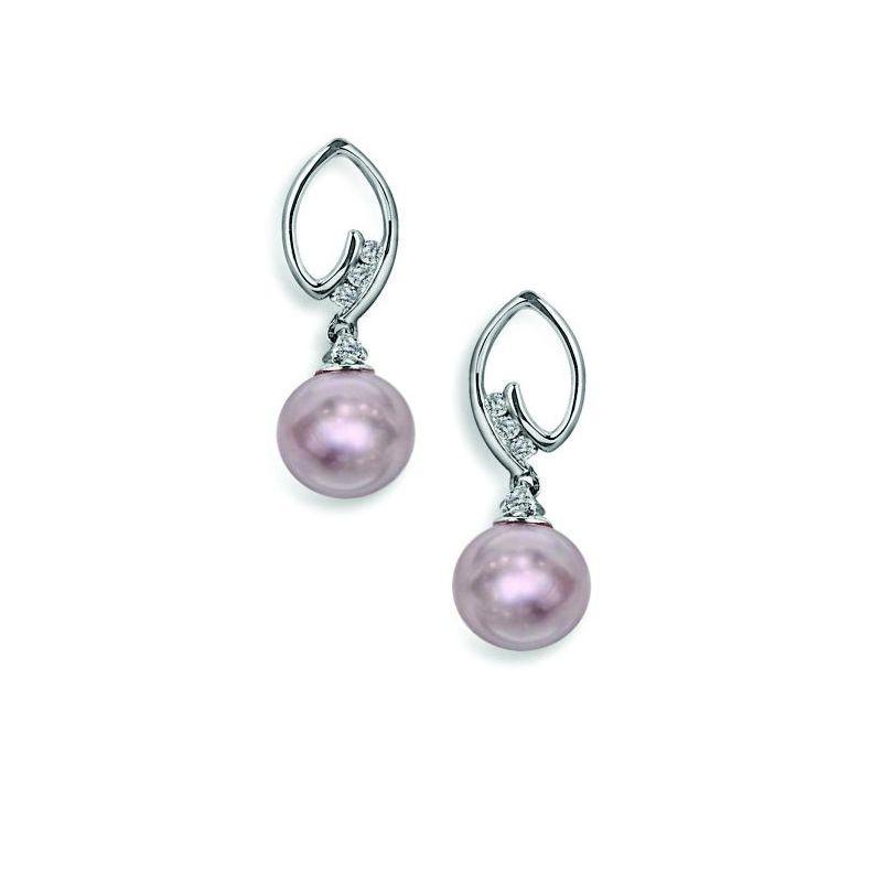 Orecchini argento 925 e perle piena perlagione color malva e zirconi - OS122 di Mayumi.