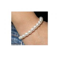 Bracciale in argento 925 e perle piena perlagione - BS123, collezione Rococò di Mayumi.