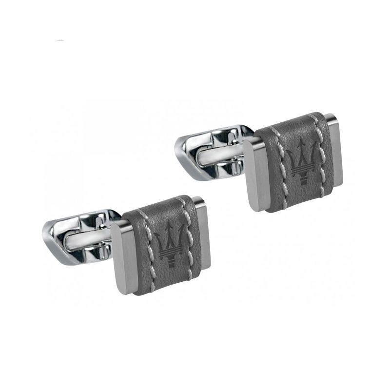 Gemelli realizzati in acciaio e cuoio grigio