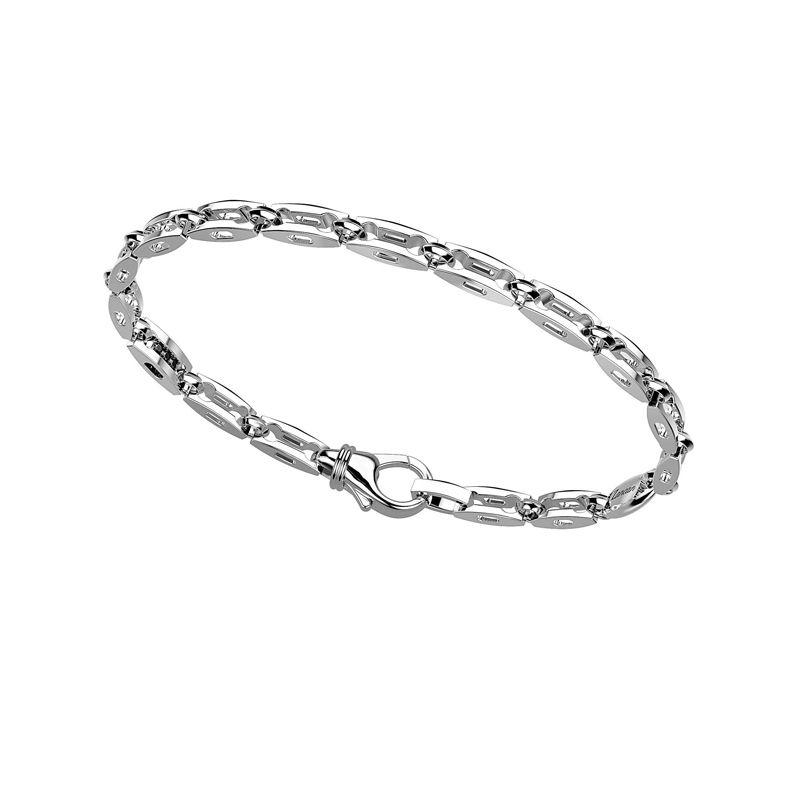 In argento 925 di misura 21 cm. La Chiusura è a moschettone.