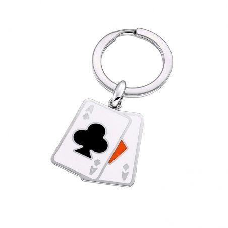Portachiavi in argento 925 e smalti colorati della collezione Poker di Zancan. Made in Italy.