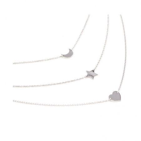 Girocollo multifilo in argento 925 rodiato con luna, stella e cuore.