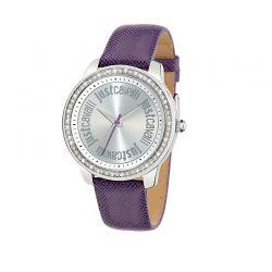 Orologio solo tempo da donna della collezione Shiny di Just Cavalli. Cassa in acciaio inox e cristalli.