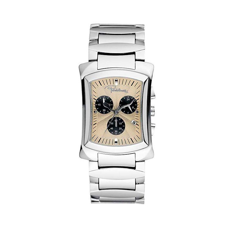 Orologio cronografo Tomahawk di Roberto Cavalli, movimento al quarzo, cassa in acciaio e bracciale in acciaio regolabile.